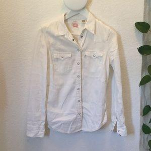 White Levi's jean shirt, xs